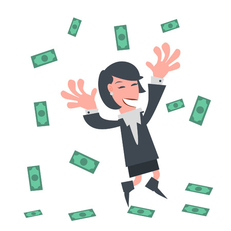 woman holding money: Businesswoman Happy with Money Rain  Illustration
