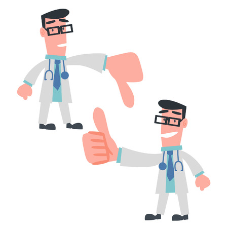 Physician Showing Thumb Up and Down  Vector