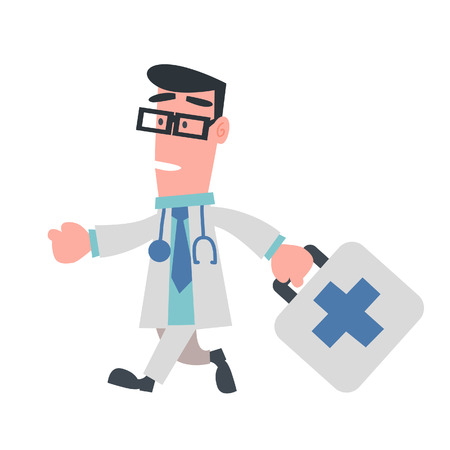 Physician Running with Bag  Vector
