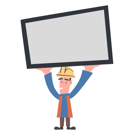 Engineer Holding Board Illustration