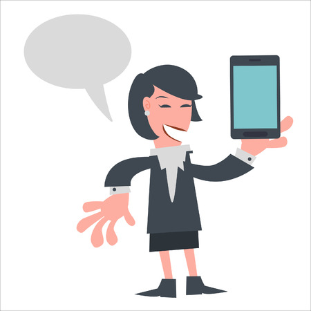 feminity: Businesswoman Holding Mobile Phone with Speech Bubble  Illustration