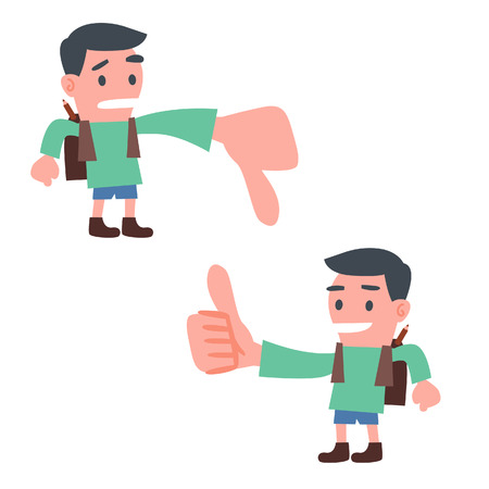 thumbs down: School Boy Showing Thumb up and Down Illustration