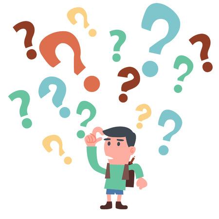 psicologia infantil: Muchacho de escuela con el signo de interrogaci�n