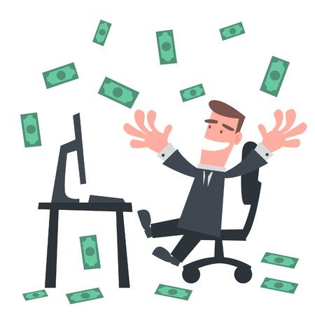 Businessman with Raining Money