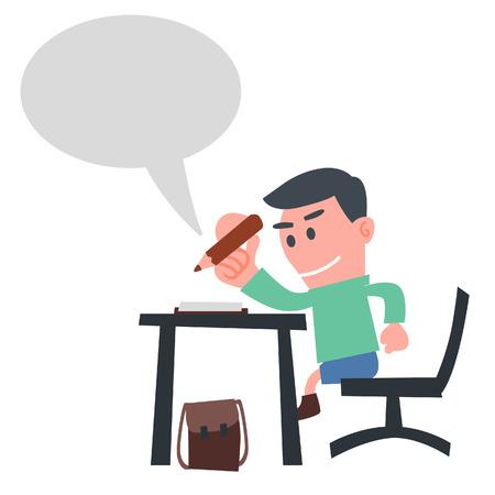 Schooljongen Beantwoord de vraag Stock Illustratie