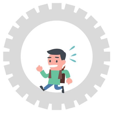 running: Young Schoolboy Running in Cogwheel