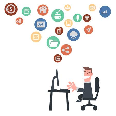 Businessman Using Internet Çizim