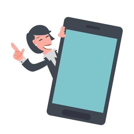 Bedrijfs vrouw die mobiele telefoon toont Stockfoto - 36477577