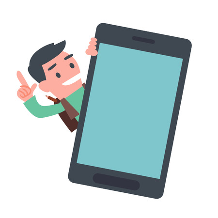 holding smart phone: School Boy Showing Smart Phone Illustration