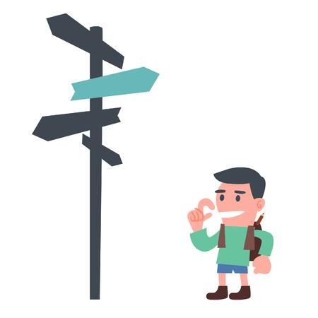方向標識と若い少年