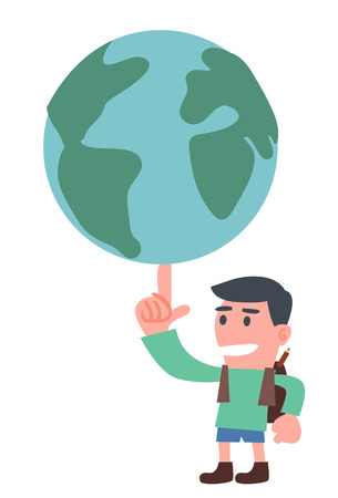 若い少年は、彼の指で地球を制御します。  イラスト・ベクター素材