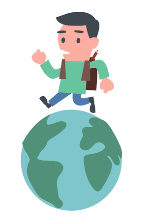 schoolboy: Young Schoolboy Running on the Earth Illustration