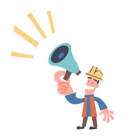 Ingenieur met megafoon in zijn hand Stockfoto - 38068716
