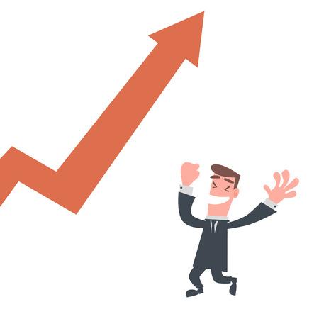 上昇グラフと幸せなビジネスマン  イラスト・ベクター素材