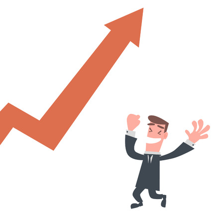 Happy Businessman with Rising Chart Illustration