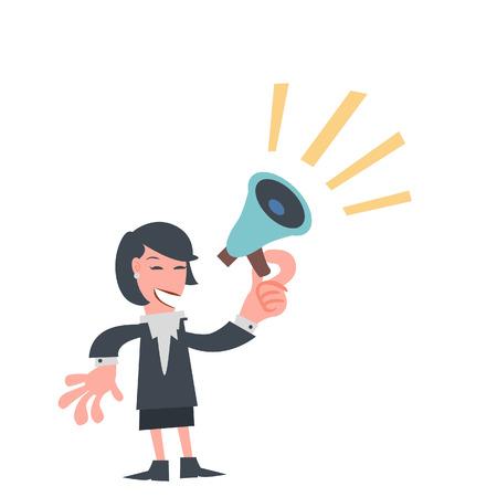 Zakenvrouw met megafoon in zijn hand Stockfoto - 38068845