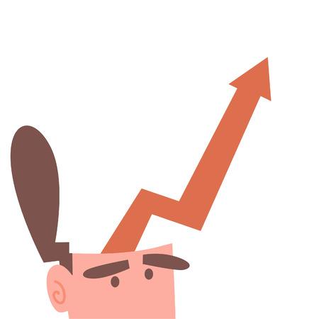 頭の中でグラフの上昇とビジネスマン