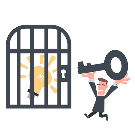 Businessman Try to Open The Cage Vector