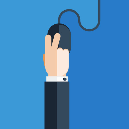 clicking: Hand Clicking on Computer Mouse Illustration