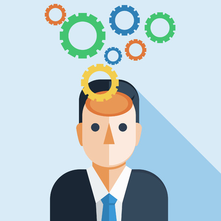cooperating: Businessman Brain with Cog Wheel Illustration
