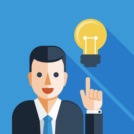 電球を持ったビジネスマン  イラスト・ベクター素材
