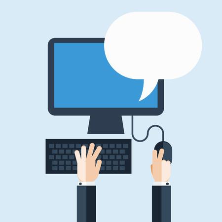 usando computadora: Hombre de negocios mediante ordenador con la burbuja del discurso Vectores