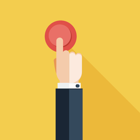 push: Hand Press Red Button on Yellow Background