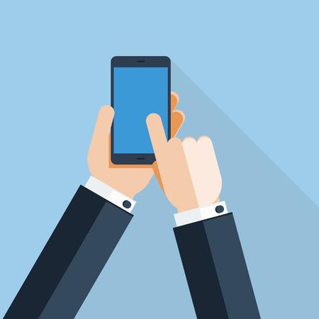 実業家の手を使用して携帯電話