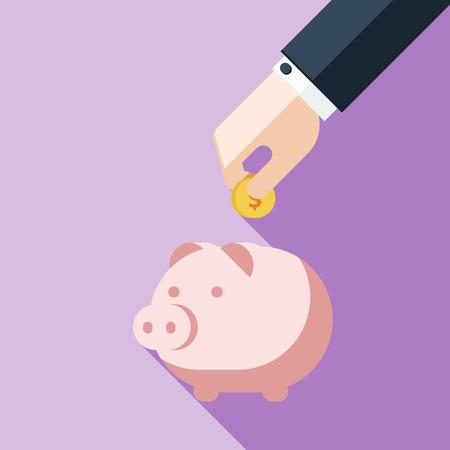 貯金箱でお金を節約の実業家  イラスト・ベクター素材