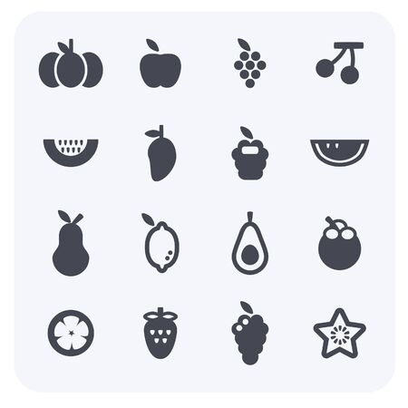 The simple design of fruit and vegetable icon set. 일러스트