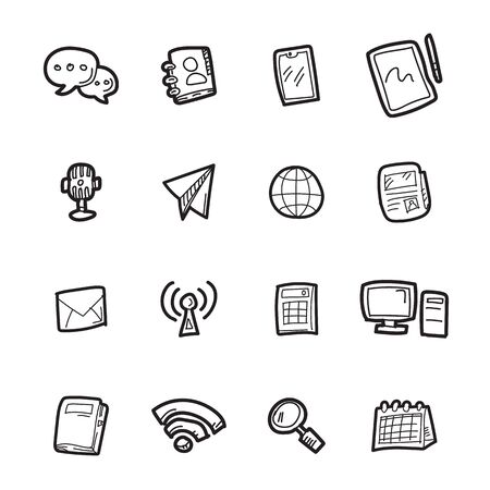 The communication doodle icon set.