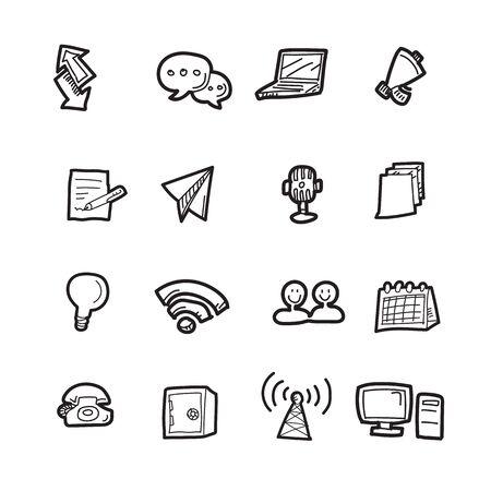 The communication doodle icon set.