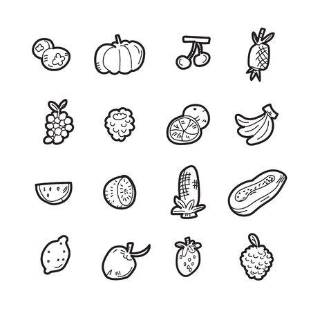 The doodle fruit icon set.