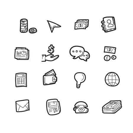 The doodle finance icon set.