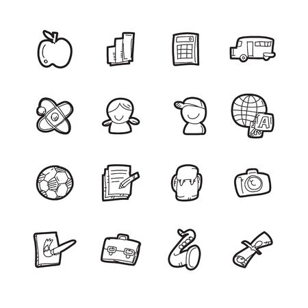 The doodle education icon set. Stock Illustratie