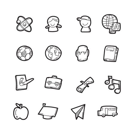 The doodle education icon set. Stock Illustratie