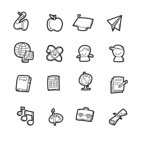 The doodle education icon set. Illustration