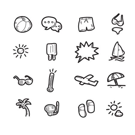 The summer doodle icon set.