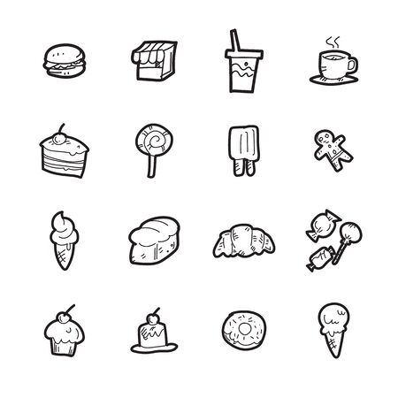 The bakery doodle icon set. Stock Illustratie