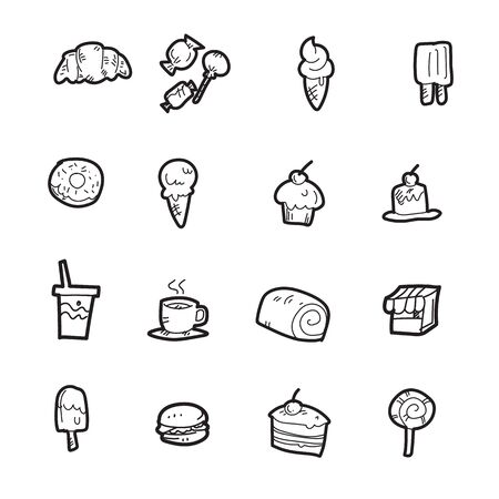 The bakery doodle icon set. Stock Illustratie