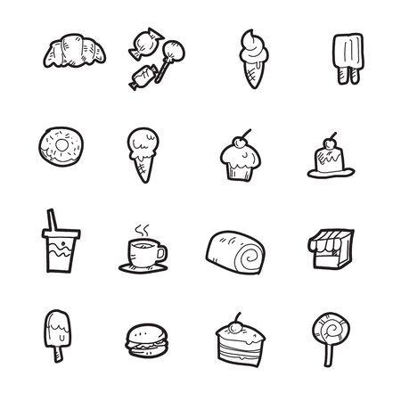 The bakery doodle icon set. Illustration