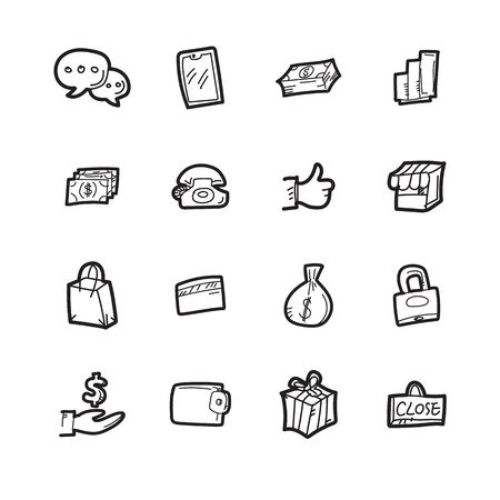 The shoping doodle icon set.