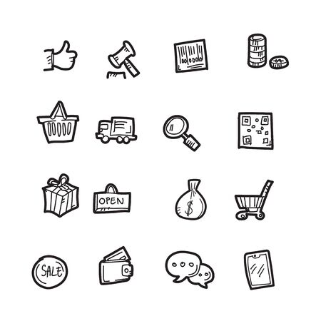 The shopping doodle icon set.