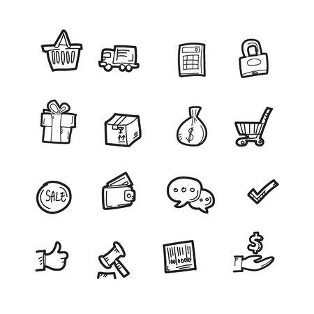 The shopping doodle icon set.