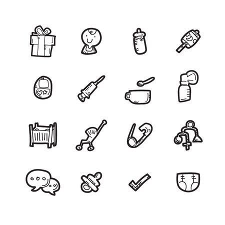 The baby doodle icon set.