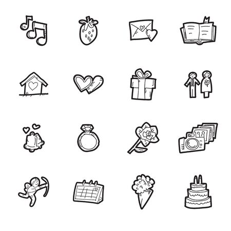 The doodle wedding icon set.
