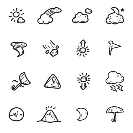 The doodle weather icon set. Stock Illustratie