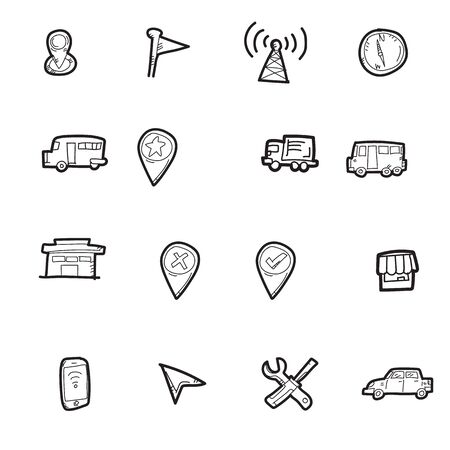 The doodle transportation icon set. Stock Illustratie