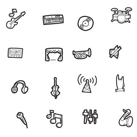 The doodle music icon set. Illustration