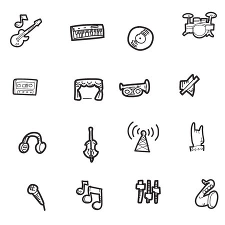 The doodle music icon set. Stock Illustratie